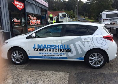 J Marshall Constructions Vehicle Signage